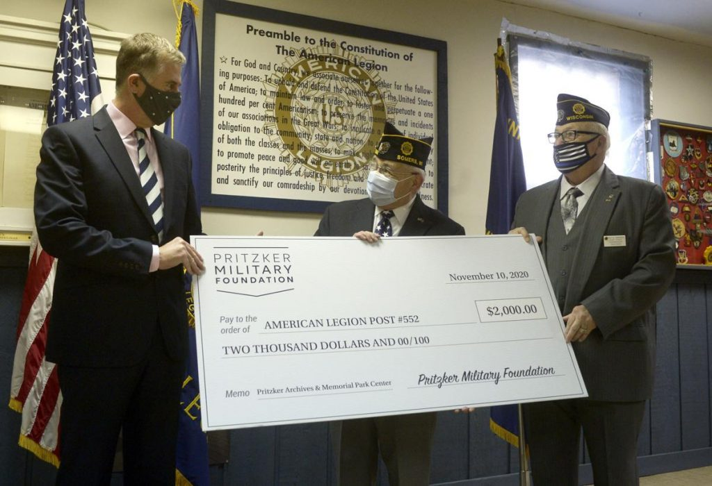Pritzker Military Foundation gives check to David Leet Post 522